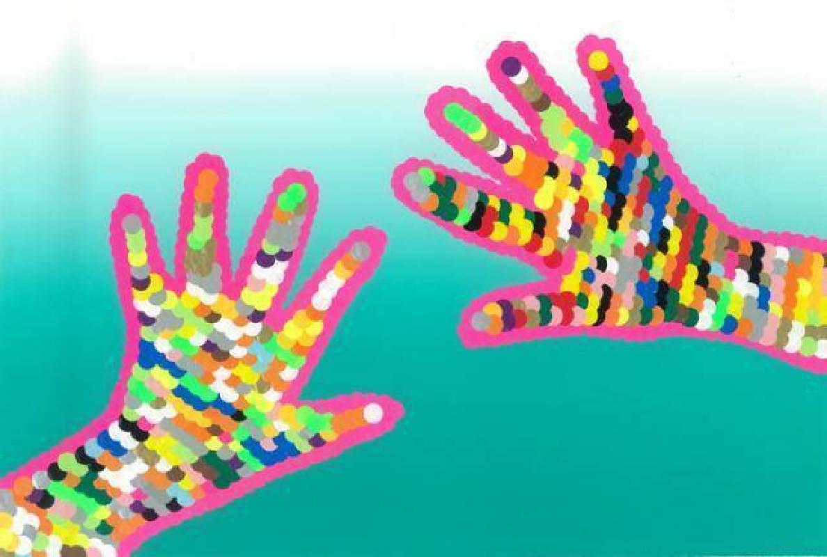 小宇的手 李仕宇 2009 26x37cm 彩色標籤、紙
