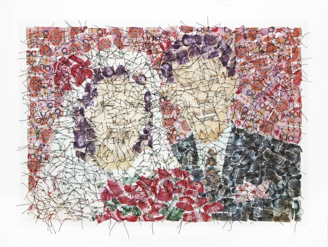 結婚照    50x70cm    藝術微噴 照片紙,手術線縫合    印數12    2010