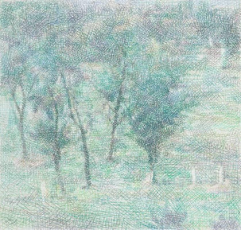 鄭君殿,2010-2012,《果園 III》,色鉛筆/紙/畫布,68 x 74 cm