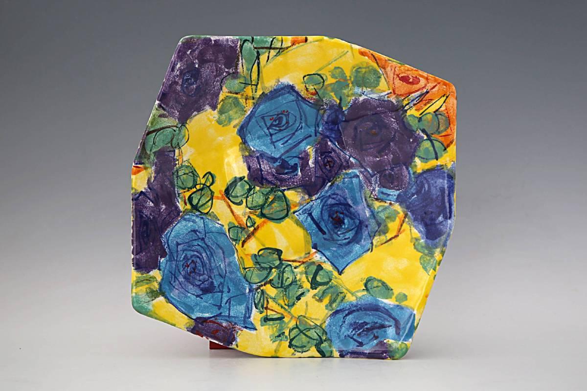 白丰中 《濃彩浸染永恆間格子盤》 2013  35×35公分  彩瓷