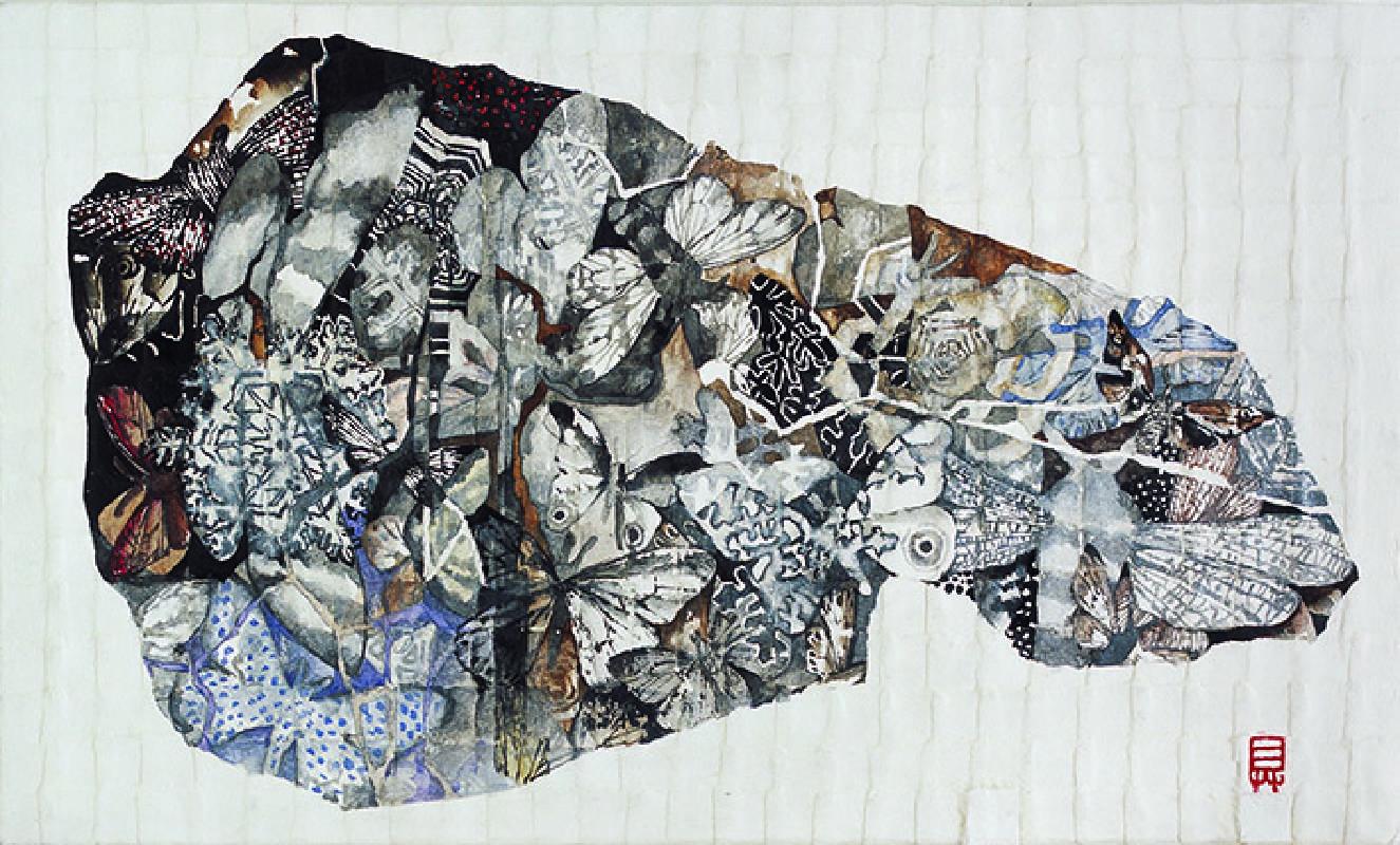 13具本妸《The  Teeth of Nature 》 30x50cm , 金銀粉、水墨設色於韓國紙上, 2013