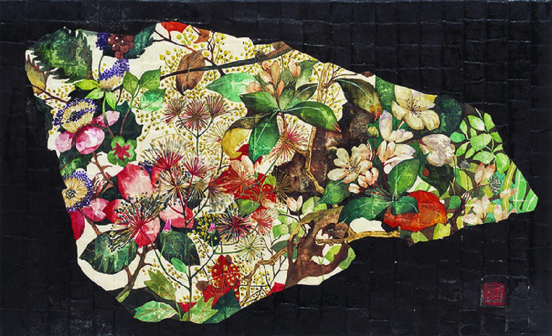 12具本妸《The  Teeth of Nature 》 30x50cm, 金銀粉、水墨設色於韓國紙上, 2013