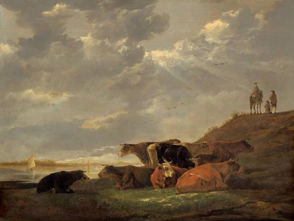 Aelbert Cuyp,《River Landscape with Cows》,1648-1650。
