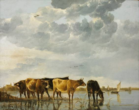 Aelbert Cuyp,《Cows in a River》,1654。