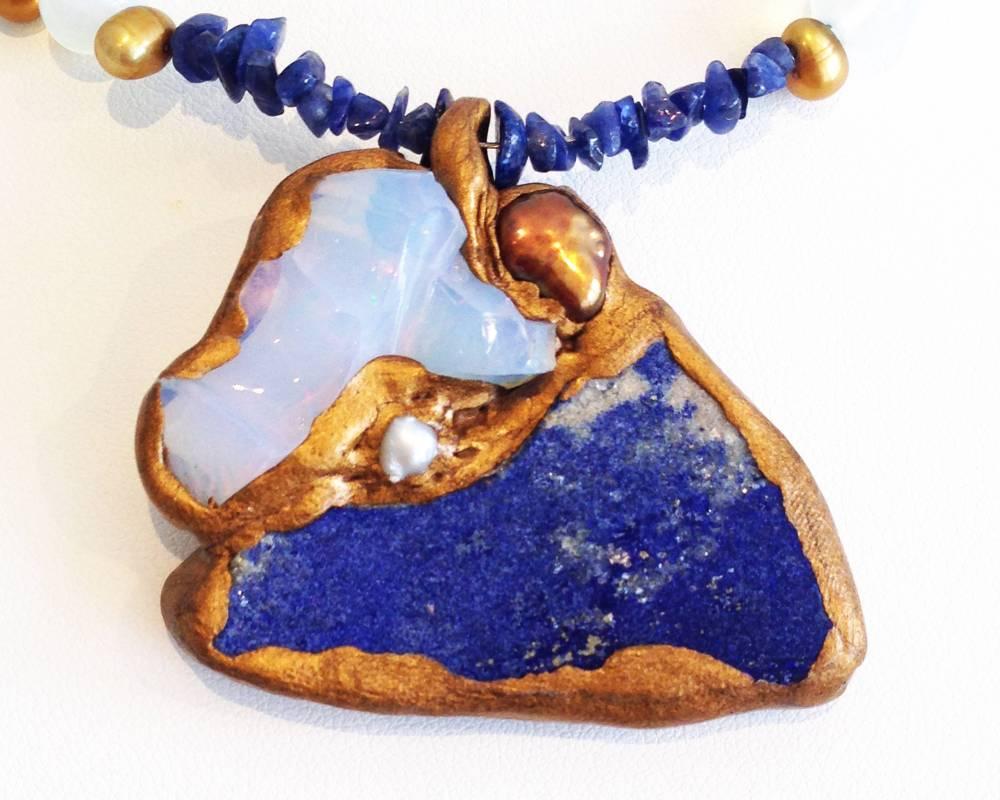 莫塞爾作品《摯愛》衣索比亞蛋白石與青金石項鍊