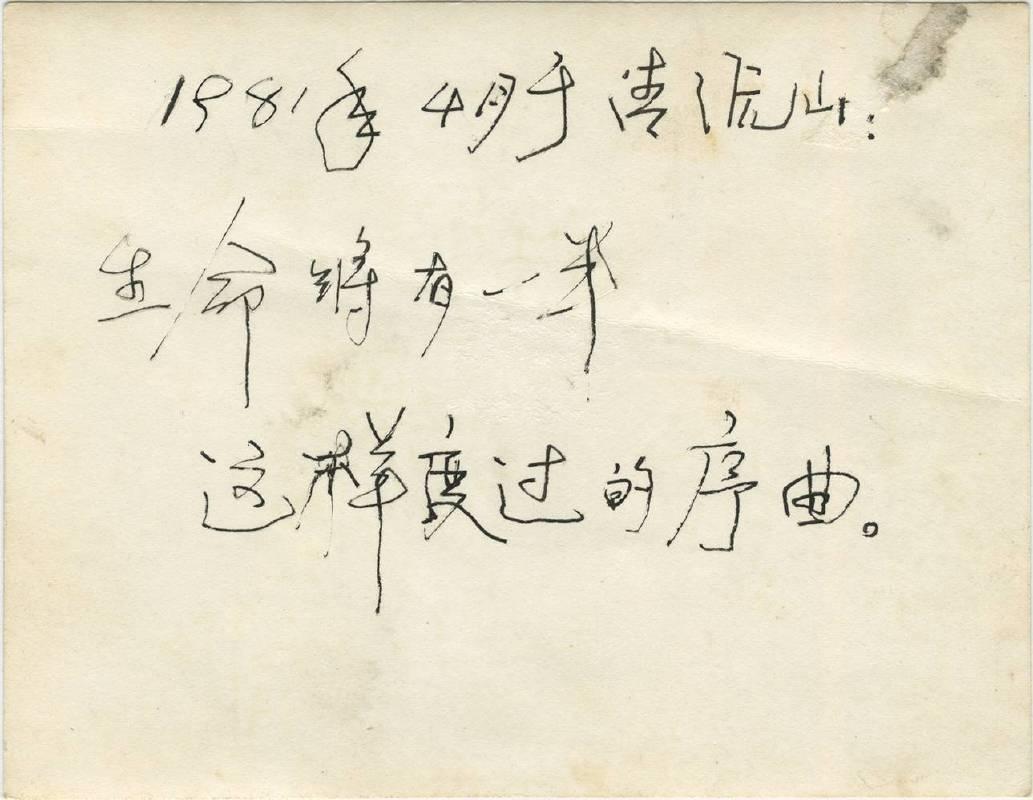 吳紅虹和蔡國強寫生留影照片背面提字