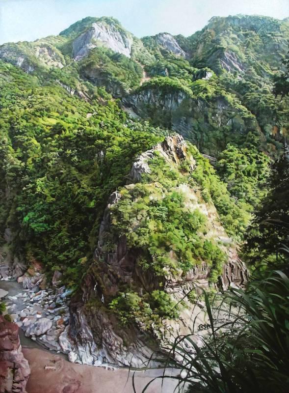 綠水,太魯閣國家公園Lushui,Taroko Gorge National Park_120x88cm_油畫、畫布 Oil on Canvas_2015