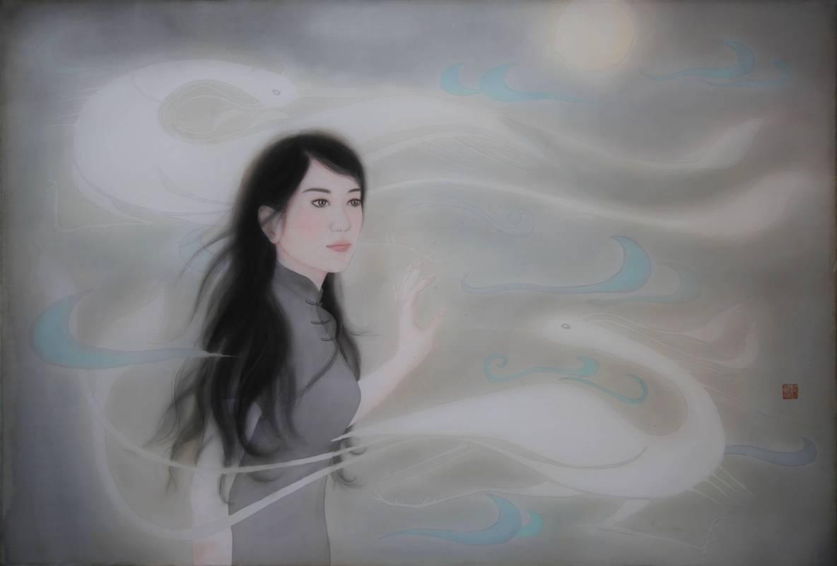 許璧翎 迷戀系列之幻-膠彩絹本 50 F 126x86cm (裝框143x100x5cm) 2012) (1)