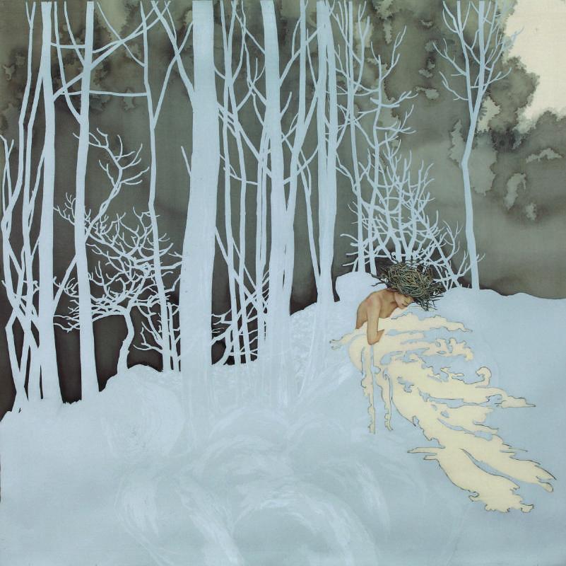 許維頴, Windy,彩、墨、珍珠粉、絹,90x90cm,2015, 大象藝術空間館