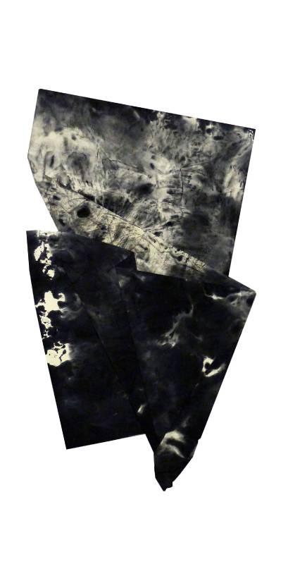 黃舜星, 無伴奏系列  P-F-17, 水、墨、紙本, 140x70cm, 2015,大象藝術空間館