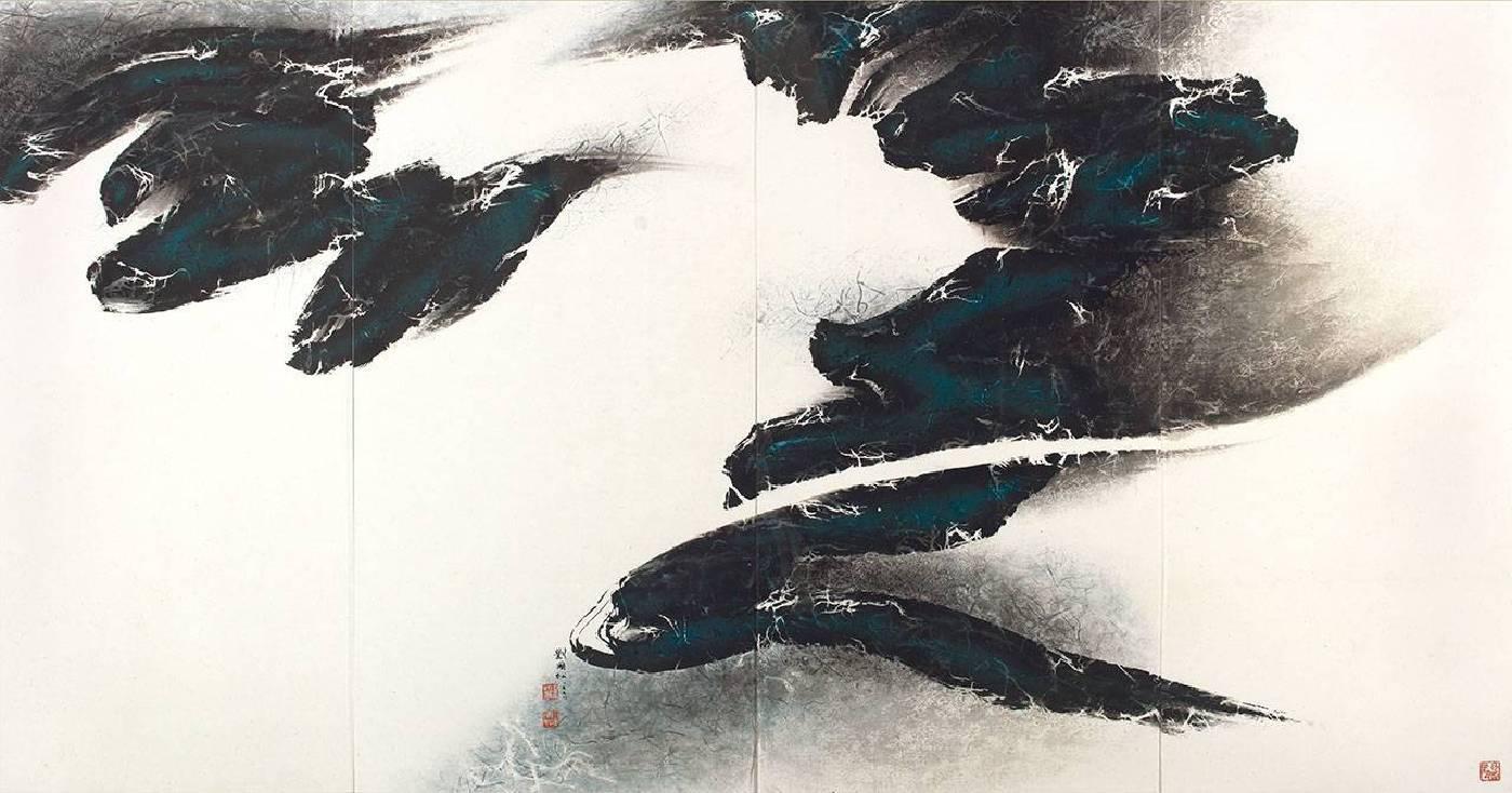 劉國松《宇宙即我心之二》(四聯幅) 1998水墨 紙本 176 x 339 cm預估價1,900萬-3,800萬台幣