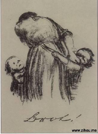 Käthe Kollwitz,《Brot!》,1924。圖/取自 wikiart。