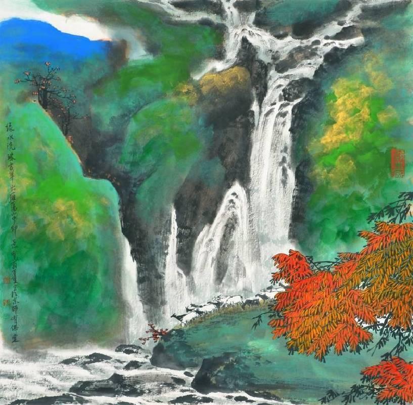 鄭百重 綠水流珠吉羊出 68x68 cm 水墨設色紙本 2014