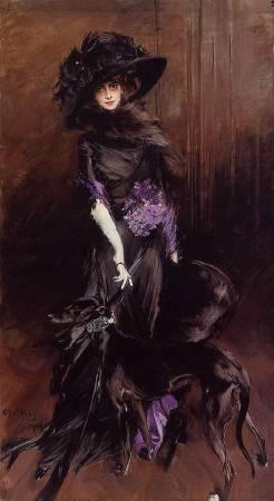 喬瓦尼《露易莎.卡莎蒂與靈獅犬》( Luisa Casati  With a Greyhound),1908。圖/取自Wikipedia。