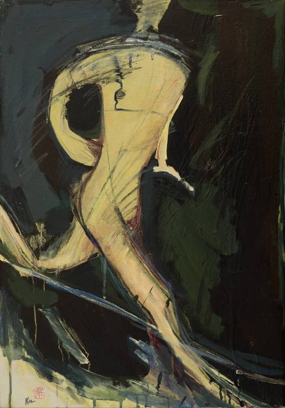 顧福生《夜奔者》,1964,油彩/畫布,76 x 53 cm