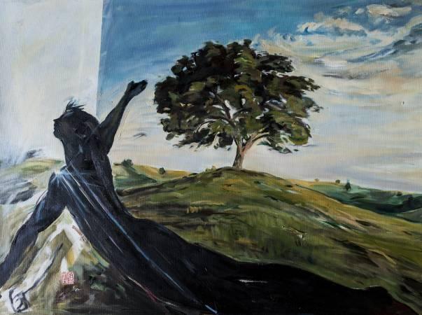 顧福生《再見》,2001,油彩/畫布,61 x 81 cm