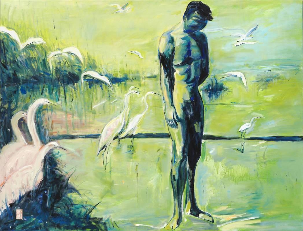 顧福生《接觸》,2013,油彩/畫布,117 x 152 cm