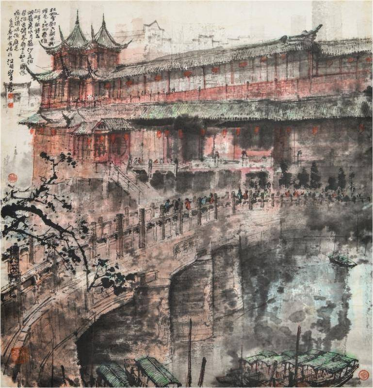 江明賢 秦淮河畔 96.5x93 cm 水墨設色紙本 2012