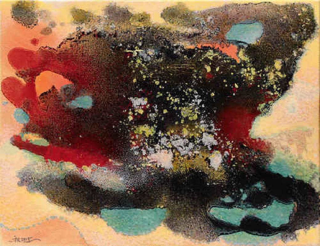 金秋-潑墨與小點,油畫,41x52.5cm,2015