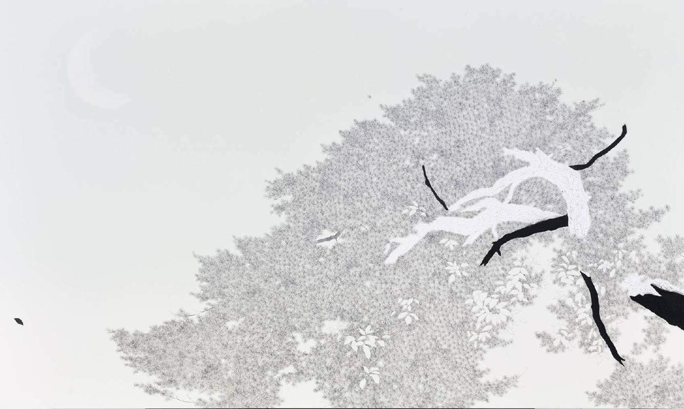 傅作新,望月,201x120cm 布面油彩 2013-2014