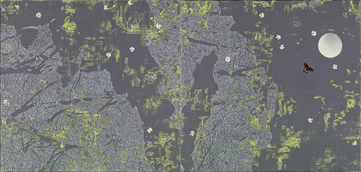 水中月, 2014 254  x 120 cm  布面油彩2014