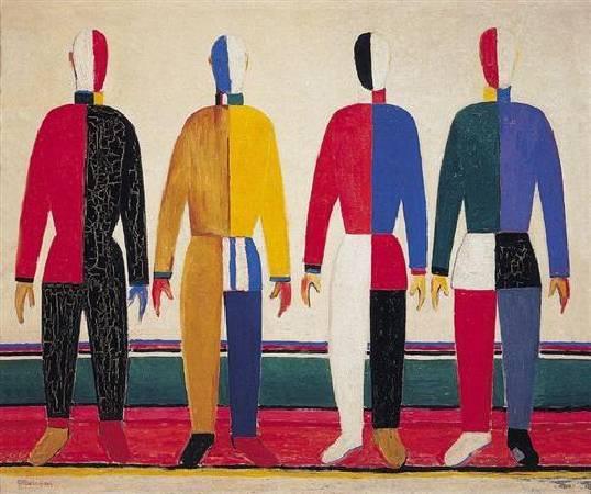 馬列維奇《運動員》(Sportsmen),1931。圖/取自Wiki Art。