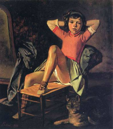 Balthus,《Girl and cat》,1937。圖/取自Wikiart。