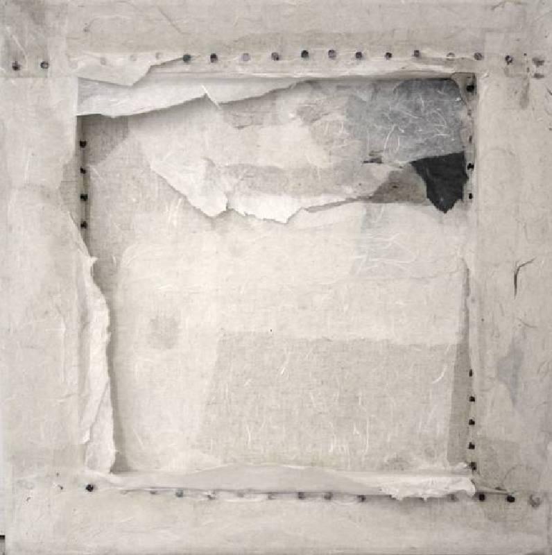 林延,胡同 #1,2012,宣紙、墨、釘、畫布,45.7 ×45.7 cm