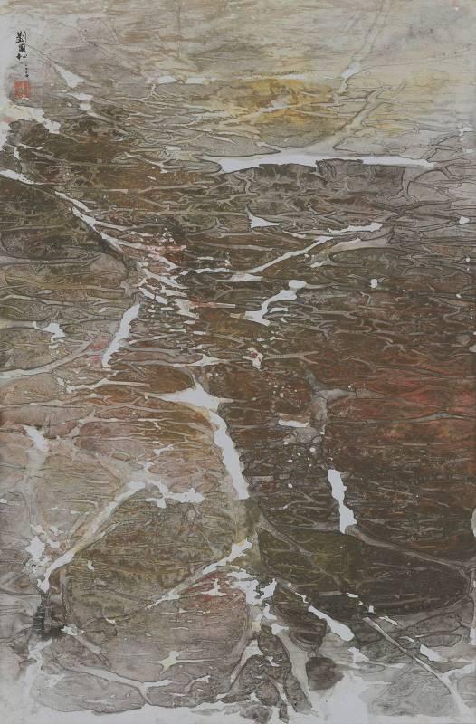 劉國松,《雪融的聲音 西藏組曲五十七》,2004。