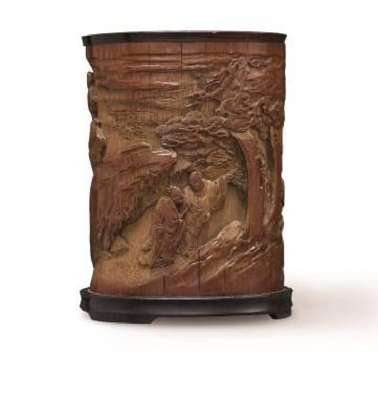 十八世紀〈竹雕劉阮入天台筆筒〉,高13.3cm,NT$100-150萬