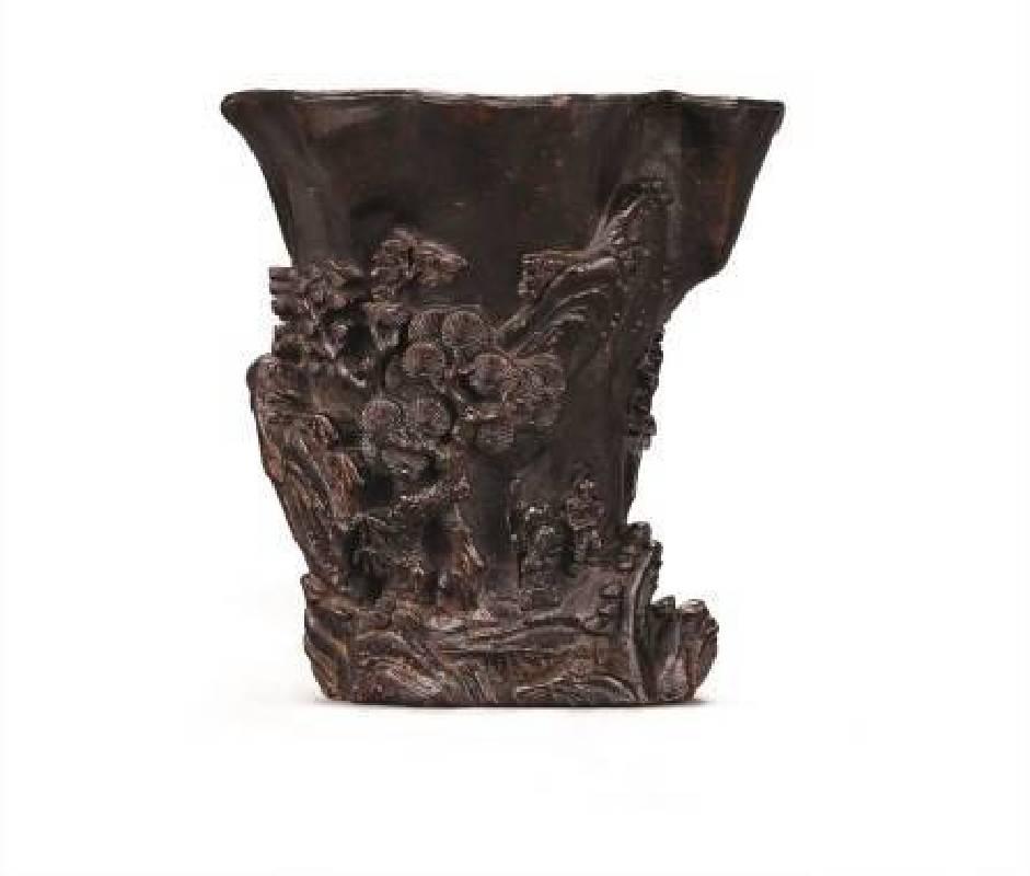 清早期〈沉香雕訪友圖杯〉,高8.5cm,NT$30-50萬