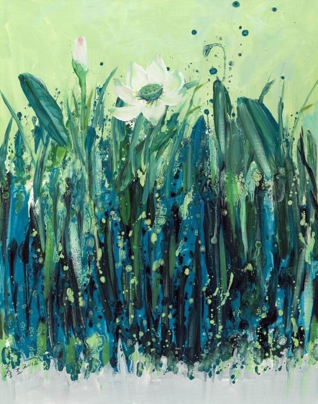 塵三 Chen San,琴荷 Chorusing Lotus,油畫 Oil on canvas,91x72.5cm,2012