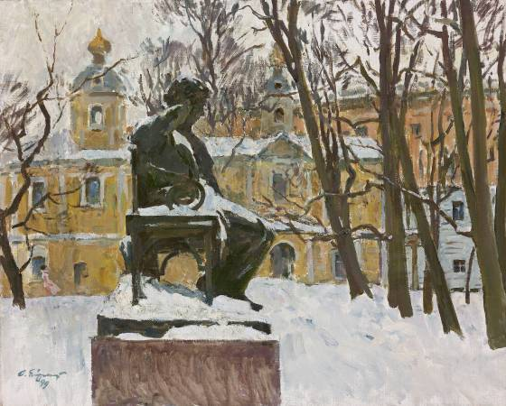 葉列梅耶夫,《隡羅的冬天詩人普希金紀念碑 》,1999年。