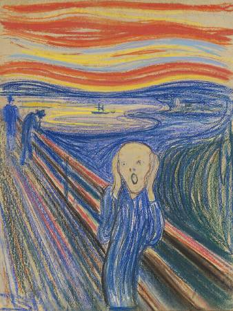 孟克《吶喊》粉彩版本。圖/取自Wikipedia。
