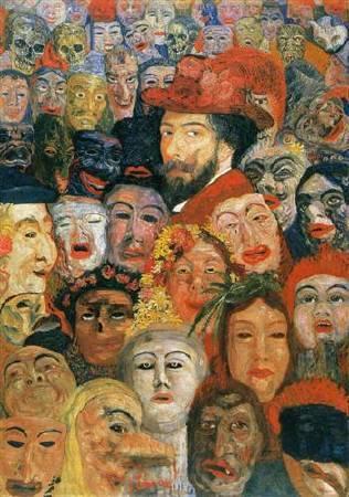 恩索爾,《被面具包圍的自畫像》,1899。圖/取自Wikiart。