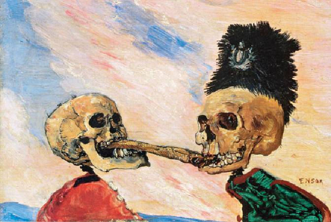 恩索爾,《 Skeletons Fighting Over a Pickled Herring》,1891。圖/取自Wikiart。