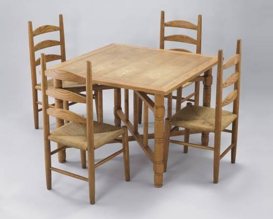 (已故)顏水龍設計-李榮烈製作-木製餐桌椅組-1994年