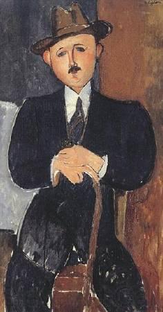 莫迪里亞尼《持拐杖的男人》。圖/取自Wikipedia。
