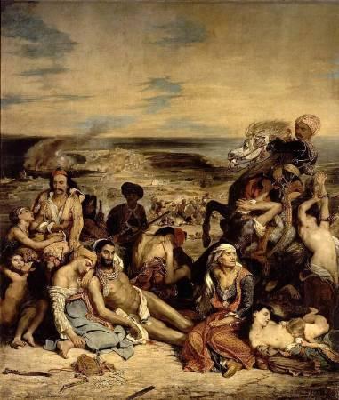 德拉克拉瓦,《希阿島的屠殺》,1824。圖/取自Wikipedia。