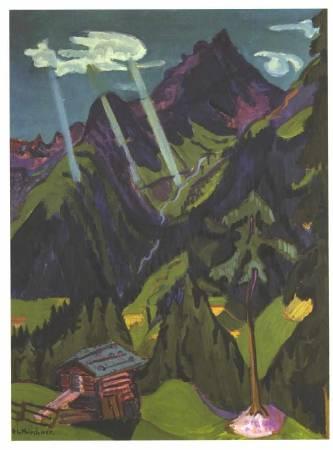 克爾希納,《格勞賓登州的風景與太陽光束》。圖/取自Wikipedia。