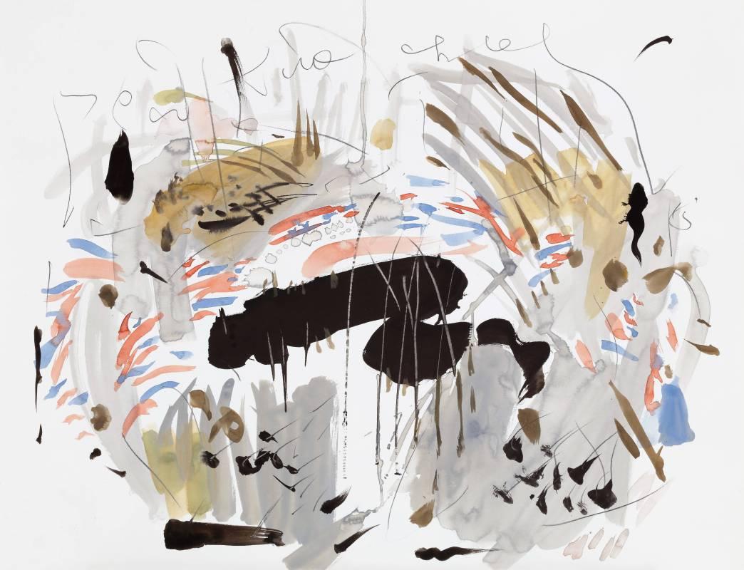 竹棚,2015,58.5x76.3cm,水彩、鉛筆、紙