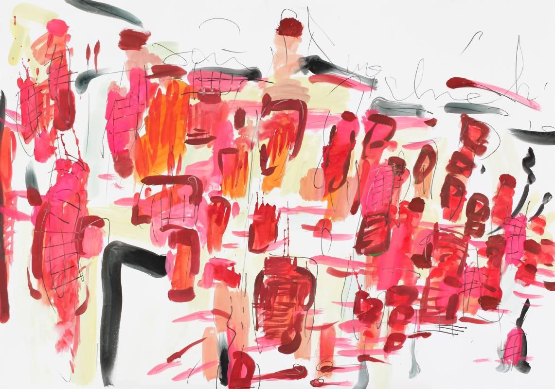 紅窗門街,2015,70x100cm,水彩、鉛筆、紙