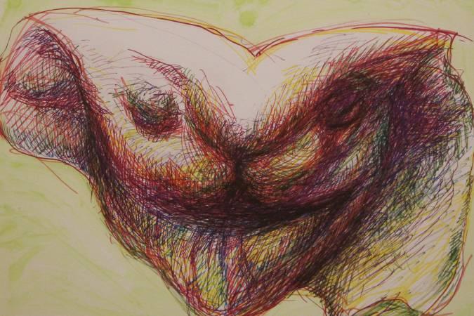 董振平「顏面」繪畫系列作品。圖/非池中藝術網攝。