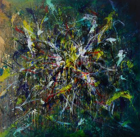 楊仁明|抽象世界|2009|壓克力、油彩|195x195cm