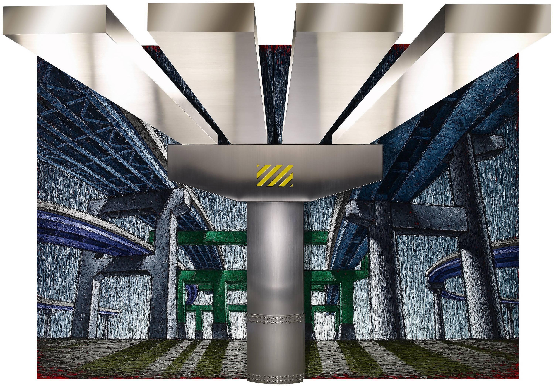 陸先銘 砥柱 2008 油彩、不鏽鋼 270x390cm