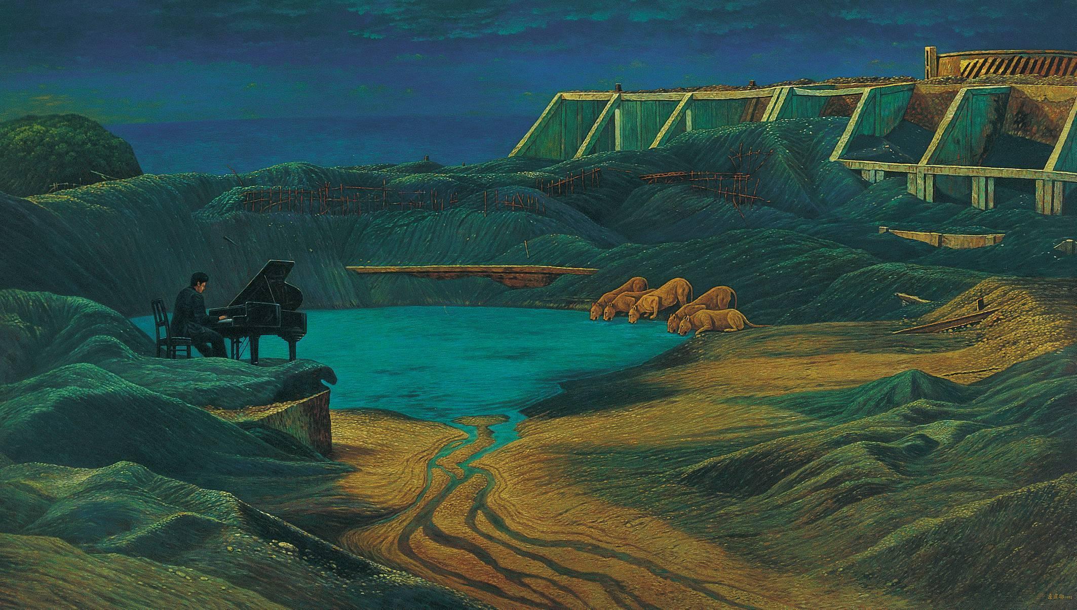 連建興 甘蜜湖畔的早唱 1995 油彩 135x234cm