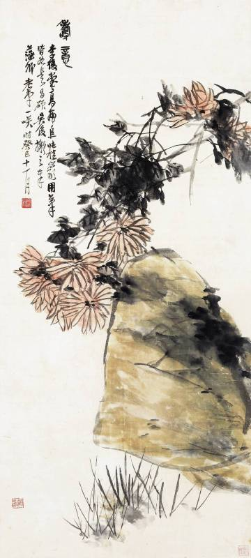 LOT 3083 吳昌碩 - 菊石圖