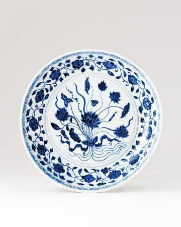 LOT 1155 明永樂 青花「一把」蓮紋盤