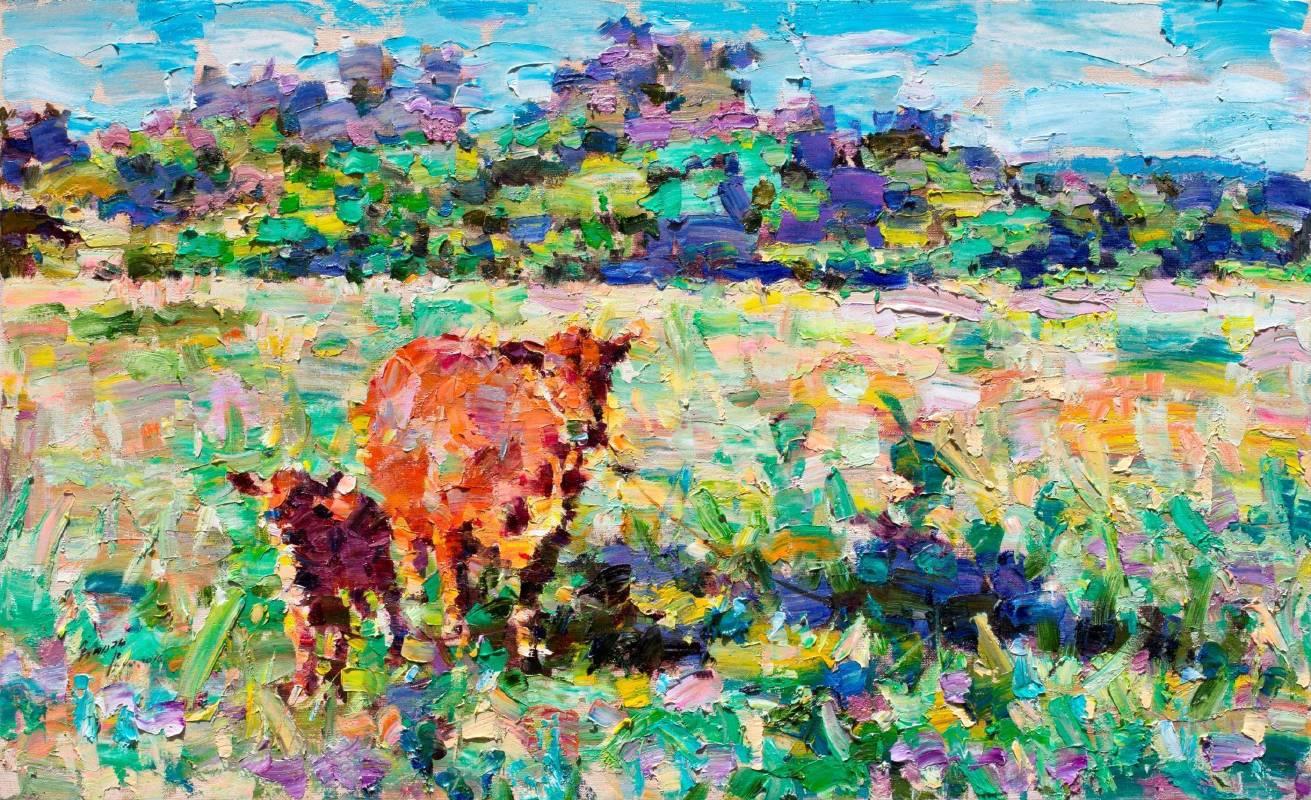 翁明哲 金門黃牛 50x80 cm 油彩畫布 2016