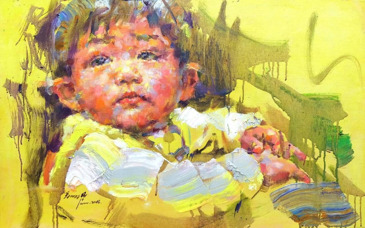 翁明哲 黃色小孩 38x60 cm 油彩畫布 2016